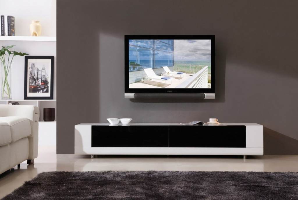 Modern TV Stands Black & White Theme